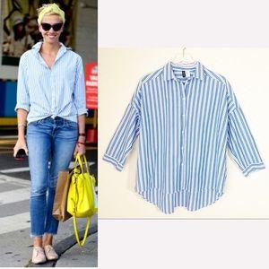 DIVIDED Striped Roll-Sleeve Hi-Lo Boyfriend Shirt